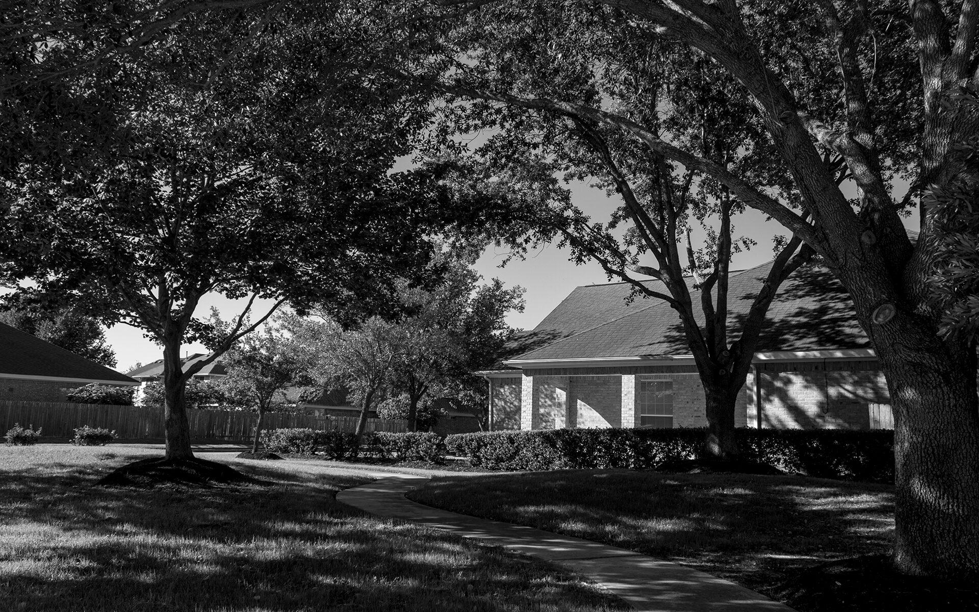 Black white photo of a suburban neighborhood with trees